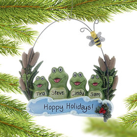 Personalized Pond Frog Family of 4 Christmas Ornament
