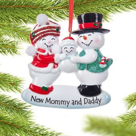 Personalized New Mommy and Daddy Family Christmas Ornament