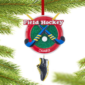 Personalized Field Hockey Sticks with Shoe Christmas Ornament