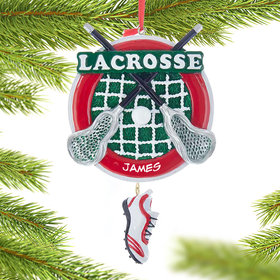 Personalized Lacrosse Sticks with Shoe Christmas Ornament