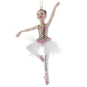 Personalized Glitter Pink Ballerina Brunette Christmas Ornament