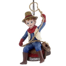 Personalized Young Cowboy with Lasso Christmas Ornament
