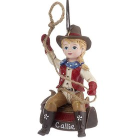 Personalized Young Cowgirl with Lasso Christmas Ornament