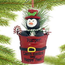 Personalized Penguin in a Bucket Christmas Ornament