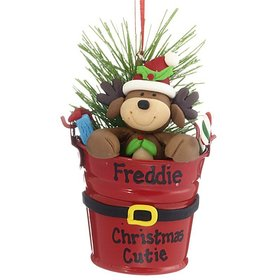 Personalized Reindeer in a Bucket Christmas Ornament