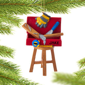 Personalized Toolbox on a Stool Christmas Ornament
