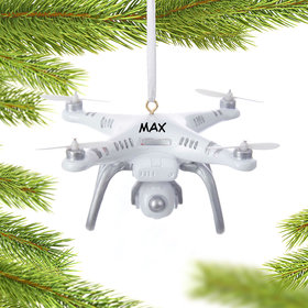 Personalized White Drone Christmas Ornament