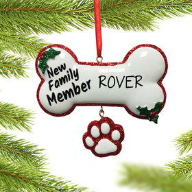 Personalized New Family Member Dog Bone Christmas Ornament