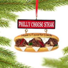 Personalized Cheese Steak Sandwich Christmas Ornament
