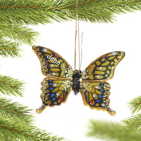 Personalized Rainbow Butterfly Christmas Ornament
