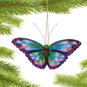 Personalized Purple Butterfly Christmas Ornament