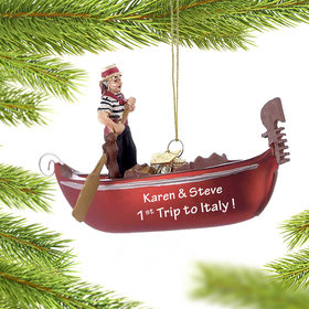 Personalized Venice Italy Gondola Christmas Ornament