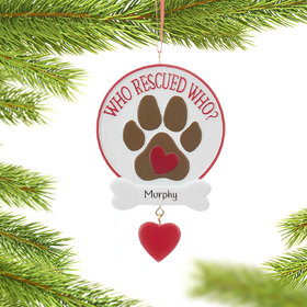 Personalized Who Rescued Who Dog Paw Print Christmas Ornament