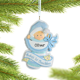Personalized Baby Boy's 1st Christmas Christmas Ornament