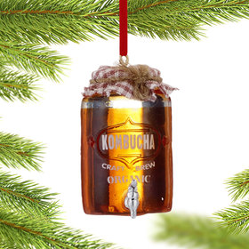 Personalized Kombucha Light Brew Tea with Red Gingham Lid Christmas Ornament