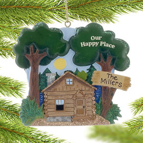 Personalized Our Happy Place Cabin Christmas Ornament
