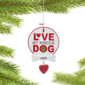 Personalized I Love My Rescue Dog Christmas Ornament