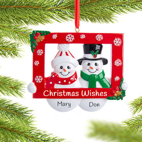 Personalized Snow Couple with Frame Christmas Ornament