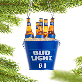 Personalized Bud Light Beer Bottles in Bucket Christmas Ornament