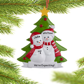 Personalized Pregnant Snow Couple Christmas Ornament