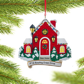 Personalized New Home Red House Christmas Ornament