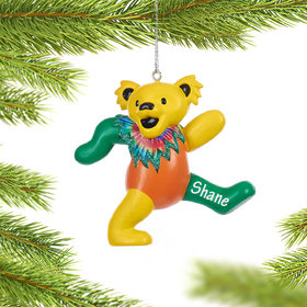 Personalized Grateful Dead Dancing Bear (Yellow, Green and Orange) Christmas Ornament