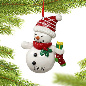Personalized Snowman Holding a Stocking Christmas Ornament