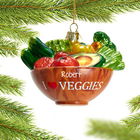 Personalized I Love Veggies Bowl Christmas Ornament
