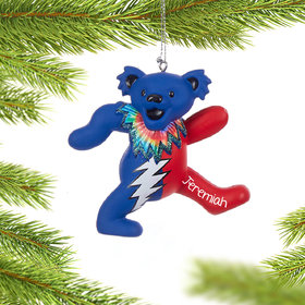 Personalized Grateful Dead Dancing Bear (Blue and Red) Christmas Ornament