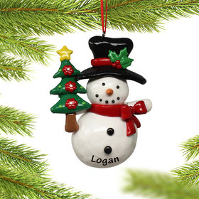Personalized Snowman Holding Christmas Tree Christmas Ornament