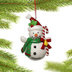 Personalized Snowman Holding Candy Cane Christmas Ornament