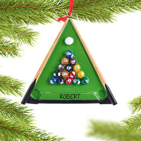 Personalized Pool Table with Pool Balls and Cue Sticks Christmas Ornament