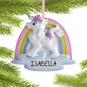 Personalized Unicorn with Rainbow Christmas Ornament