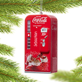 Personalized Coke Santa Vending Machine Christmas Ornament
