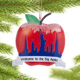 Personalized New York Apple Christmas Ornament
