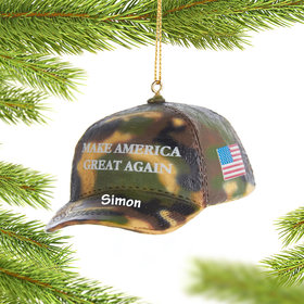 Personalized Resin Camo MAGA Cap Christmas Ornament