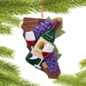 Personalized California State Wine Christmas Ornament