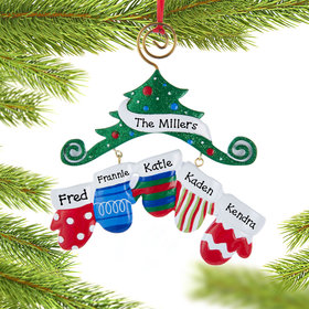 Personalized Mitten Family of 5 Christmas Ornament