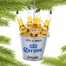Personalized Corona Bottles in Ice Bucket Christmas Ornament