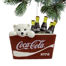 Personalized Polar Bear Cub in Coke Cooler Christmas Ornament