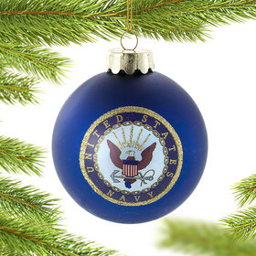 Personalized Navy Glass Ball Ornament Christmas Ornament
