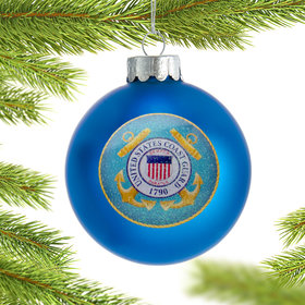 Personalized Coast Guard Glass Ball Christmas Ornament