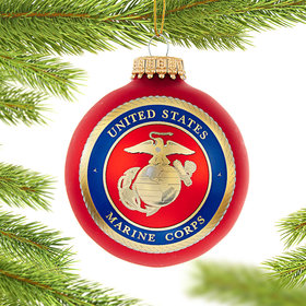 Personalized Marine Corps Logo Glass Ball Christmas Ornament