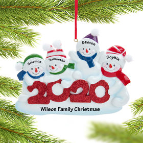 Personalized 2020 Snowman Family of 4 Christmas Ornament