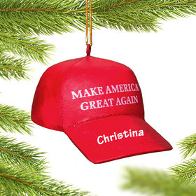 Personalized 'Make America Great Again' Hat Christmas Ornament