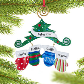 Personalized Mitten Family of 4 Christmas Ornament