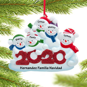 Personalized 2020 Snowman Family of 5 Ornament