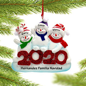 Personalized 2020 Snowman Family of 3 Christmas Ornament