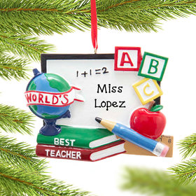 Personalized Teacher Whiteboard Christmas Ornament