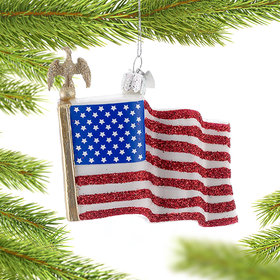 Personalized American Flag Christmas Ornament